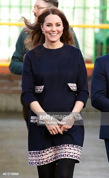 Catherine Duchess of Cambridge arrives to officially name the Clore Art Room at Barlby Primary School on January 15 2015 in London England