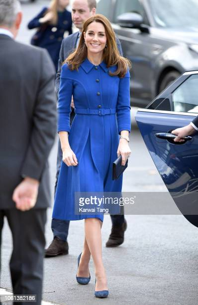 Catherine, Duchess of Cambridge arrives to officially open the McLaren Automotive's new Composites Technology Centre on November 14, 2018 in...