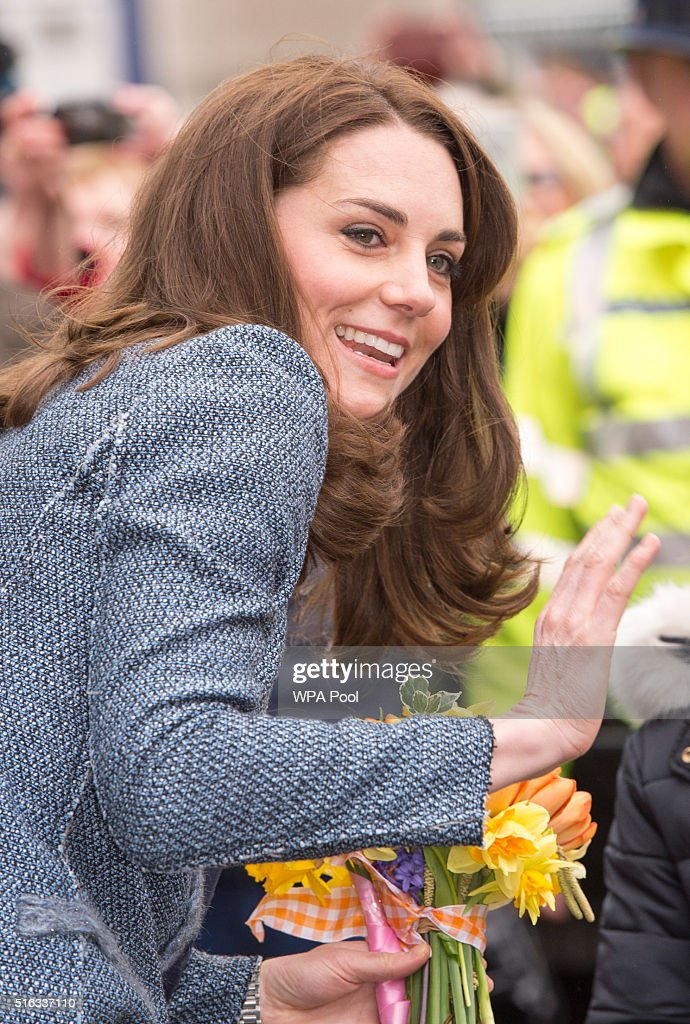 Catherine, Duchess of Cambridge arrives to officially open the new EACH charity shop on March 18, 2016 in Holt, United Kingdom.