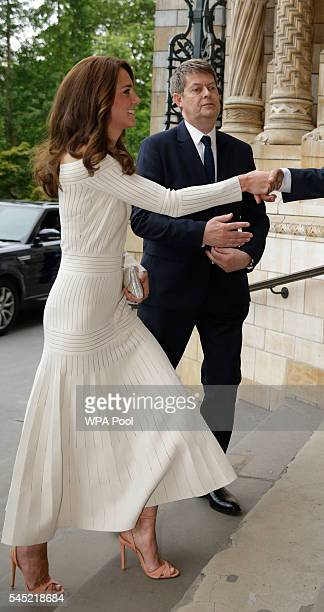 Catherine, Duchess of Cambridge arrives to present the Art Fund Museum of the Year 2016 prize at a dinner hosted at the Natural History Museum on...
