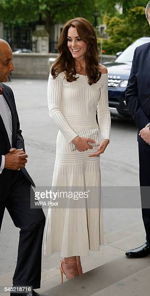 Catherine Duchess of Cambridge arrives to present the Art Fund Museum of the Year 2016 prize at a dinner hosted at the Natural History Museum on July...