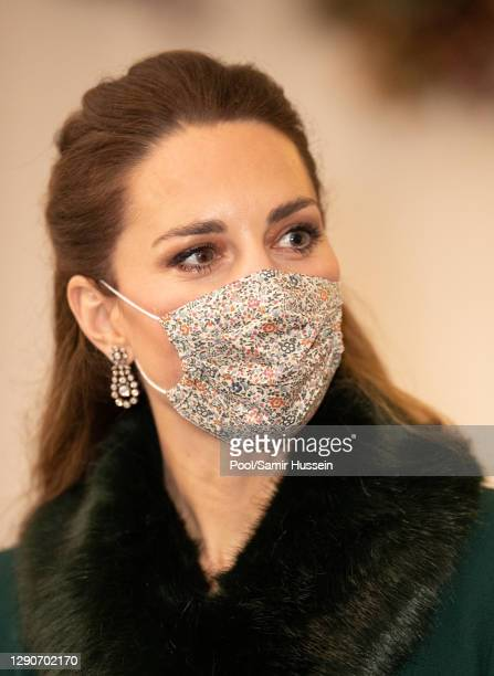 Catherine, Duchess of Cambridge arrives to thank local volunteers and key workers for the work they are doing during the coronavirus pandemic and...