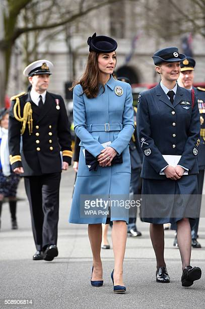 Catherine Duchess of Cambridge arrives to the 75th Anniversary of the RAF Air Cadets at St Clement Danes Church on February 7 2016 in London England