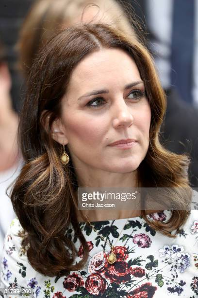 Catherine Duchess of Cambridge arrives to the Gdansk Shakespeare Theatre during an official visit to Poland and Germany on July 18 2017 in Gdansk...