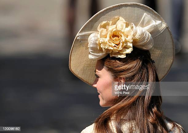 Catherine Duchess of Cambridge arrives to the Royal wedding of Zara Phillips and Mike Tindall at Canongate Kirk on July 30 2011 in Edinburgh Scotland...