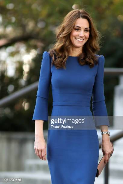 Catherine Duchess of Cambridge arrives to tour the First World War Galleries with historians and curators before viewing letters relating to the...