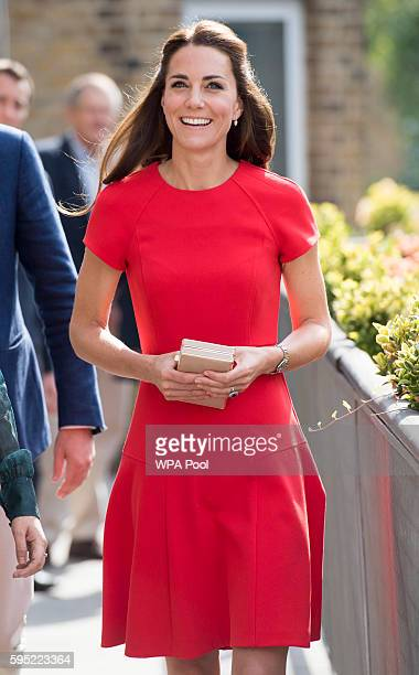 Catherine Duchess of Cambridge arrives to visit a helpline service run by one of the eight charity partners of Heads Together on August 25 2016 in...