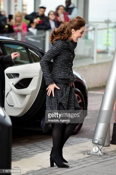 Catherine, Duchess of Cambridge arrives to visit a workshop run by the National Portrait Gallery's Hospital Programme at Evelina Children's Hospital...