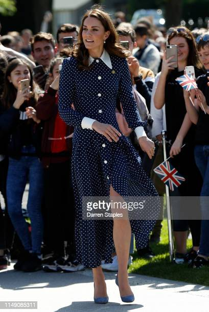 Catherine Duchess of Cambridge arrives to visit the DDay exhibition at Bletchley Park on May 14 2019 in Bletchley England The DDay exhibition marks...