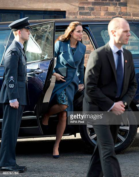 Catherine Duchess of Cambridge arrives to visit the 'Emma Bridgewater' pottery factory to view the production of a mug that the company has launched...