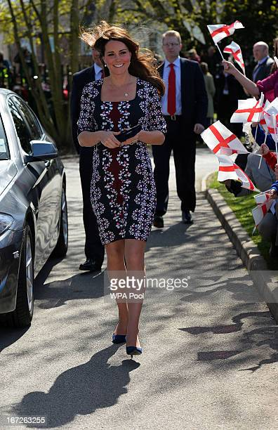 Catherine Duchess of Cambridge arrives to visit The Willows Primary School Wythenshawe to launch a new school counseling program on April 23 2013 in...