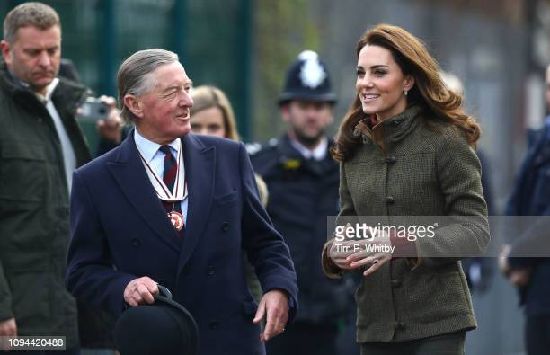 Catherine, Duchess of Cambridge arrives to visit to Islington Community Garden on January 15, 2019 in London, England.