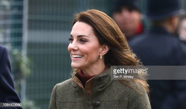 Catherine Duchess of Cambridge arrives to visit to Islington Community Garden on January 15 2019 in London England