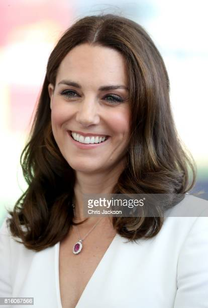 Catherine Duchess of Cambridge arrives with Prince William Duke of Cambridge to meet young entrepreneurs during a reception at the Heart Spire...