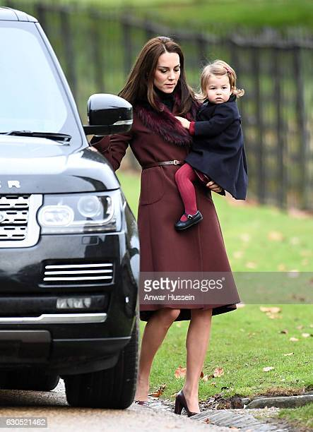 Catherine Duchess of Cambridge arrives with Princess Charlotte of Cambridge to attend a Christmas Day service at St Marks Church on December 25 2016...