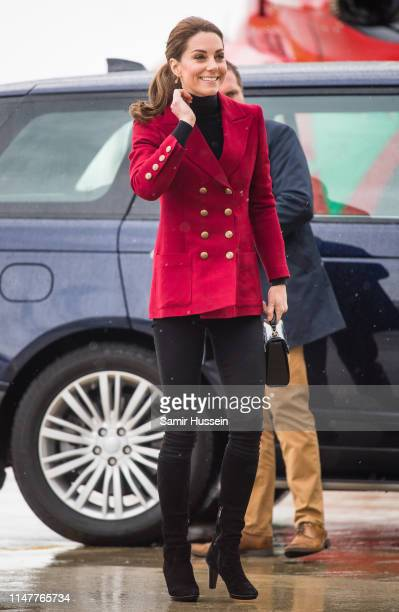 Catherine, Duchess of Cambridge arrivs at Caernarfon Coastguard Search and Rescue Helicopter Base during a visit to North Wales on May 08, 2019 in...