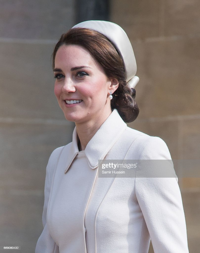 Catherine, Duchess of Cambridge as she attends Easter Day Service at St George's Chapel on April 16, 2017 in Windsor, England.