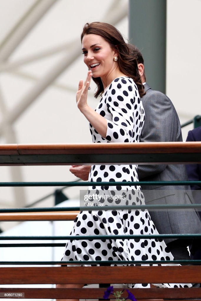 Catherine, Duchess of Cambridge as she meets servicemen and women on day one of the Wimbledon Championships at The All England Lawn Tennis and Croquet Club, Wimbledon. on July 3, 2017 in London, England.
