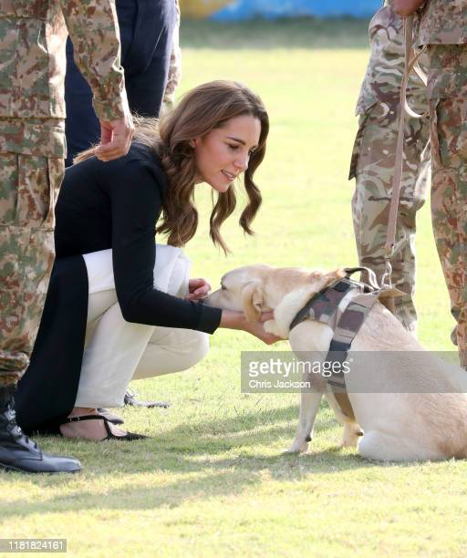 Catherine Duchess of Cambridge as she visits an Army Canine Centre with Prince William Duke of Cambridge where the UK provides support to a programme...