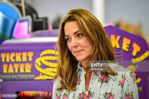 Catherine Duchess of Cambridge at Island Leisure Amusement Arcade where Gavin and Stacey was filmed during their visit to Barry Island South Wales to...