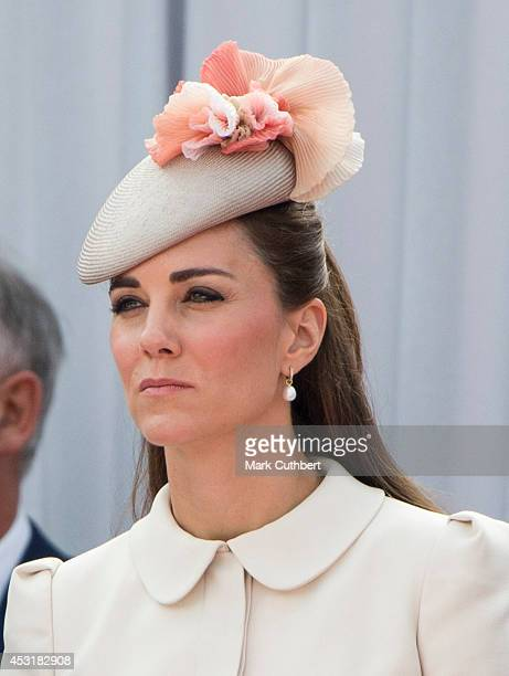 Catherine Duchess of Cambridge at Saint Laurent Abbey for a ceremony to mark 100th anniversary of World War 1 on August 4 2014 in Liege Belgium