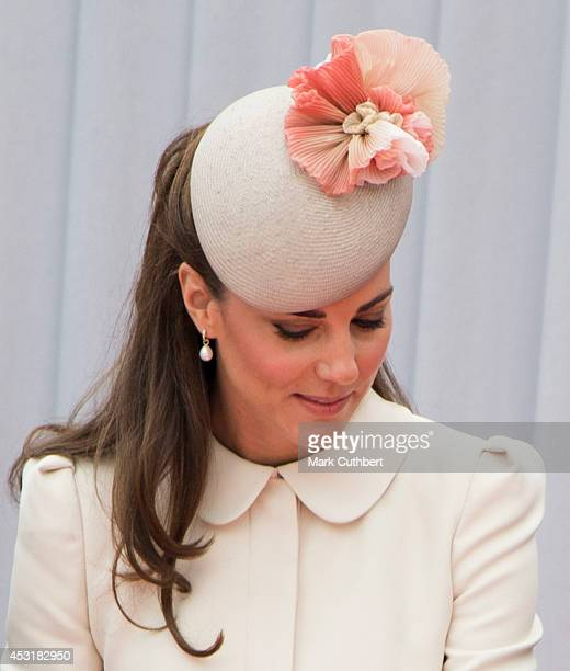 Catherine, Duchess of Cambridge at Saint Laurent Abbey for a ceremony to mark 100th anniversary of World War 1 on August 4, 2014 in Liege, Belgium.
