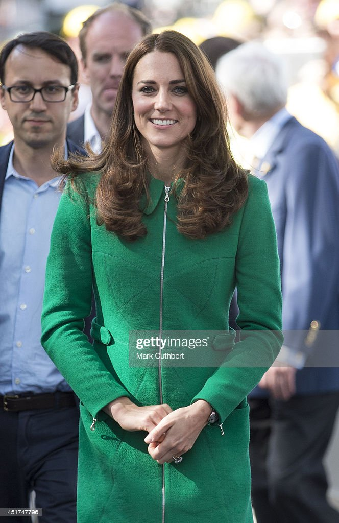 Catherine, Duchess of Cambridge at the finish line of stage one of The Tour de France on July 5, 2014 in Harrogate, England.