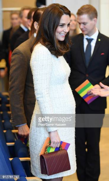 Catherine Duchess of Cambridge at the Matteusskolan in Stockholm where they took part in the YAM programme during one of their mental health activity...