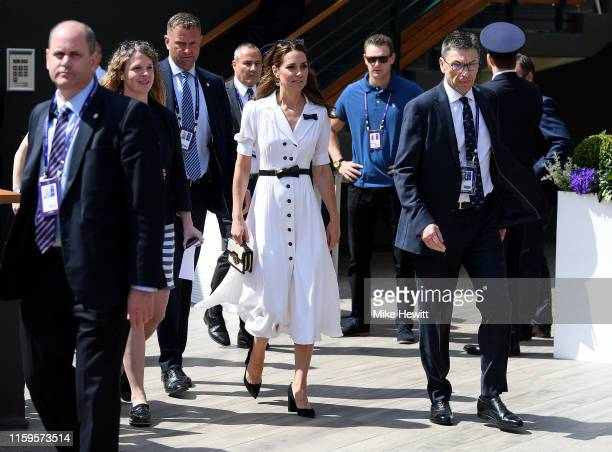 Catherine Duchess of Cambridge attend Day two of The Championships Wimbledon 2019 at All England Lawn Tennis and Croquet Club on July 02 2019 in...