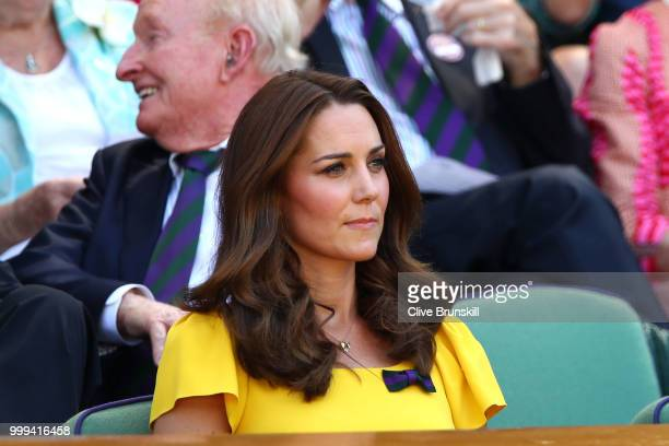 Catherine Duchess of Cambridge attend the Men's Singles final on day thirteen of the Wimbledon Lawn Tennis Championships at All England Lawn Tennis...