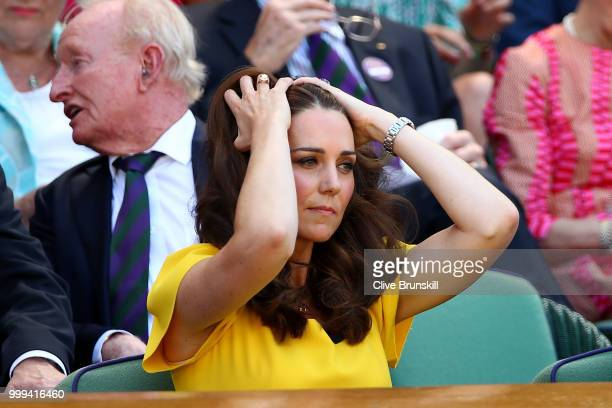 Catherine, Duchess of Cambridge attend the Men's Singles final on day thirteen of the Wimbledon Lawn Tennis Championships at All England Lawn Tennis...