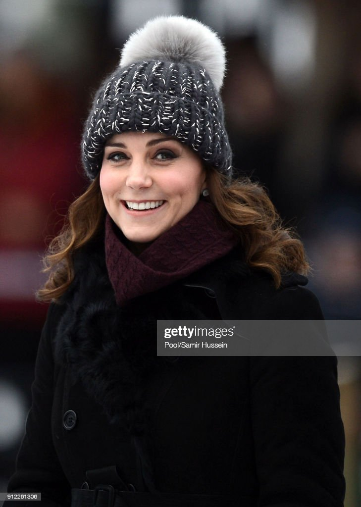 Catherine, Duchess of Cambridge attends a Bandy hockey match where they will learn more about the popularity of the sport during day one of their Royal visit to Sweden and Norway on January 30, 2018 in Stockholm, Sweden.