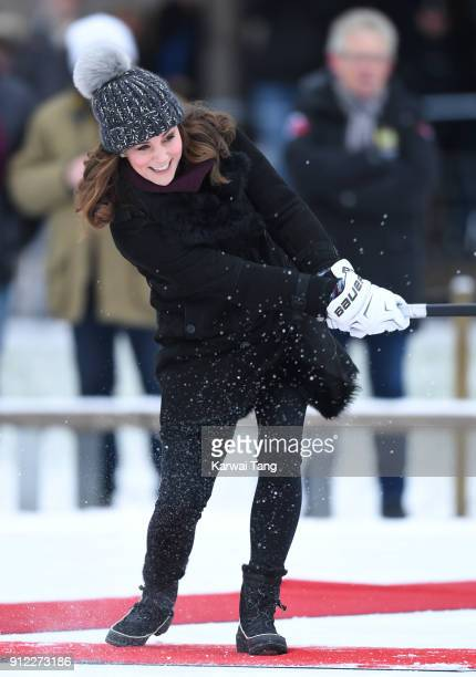 Catherine Duchess of Cambridge attends a Bandy hockey match where they will learn more about the popularity of the sport during day one of their...