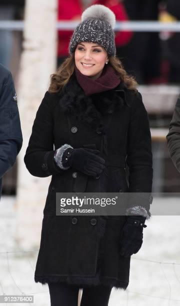 Catherine Duchess of Cambridge attends a Bandy hockey match with Prince William Duke of Cambridge where they will learn more about the popularity of...