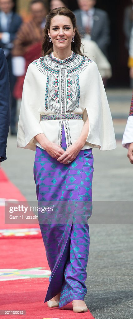 Catherine, Duchess of Cambridge attends a ceremonial welcome and audience at TashichhoDong on April 14, 2016 in Thimphu, Bhutan.