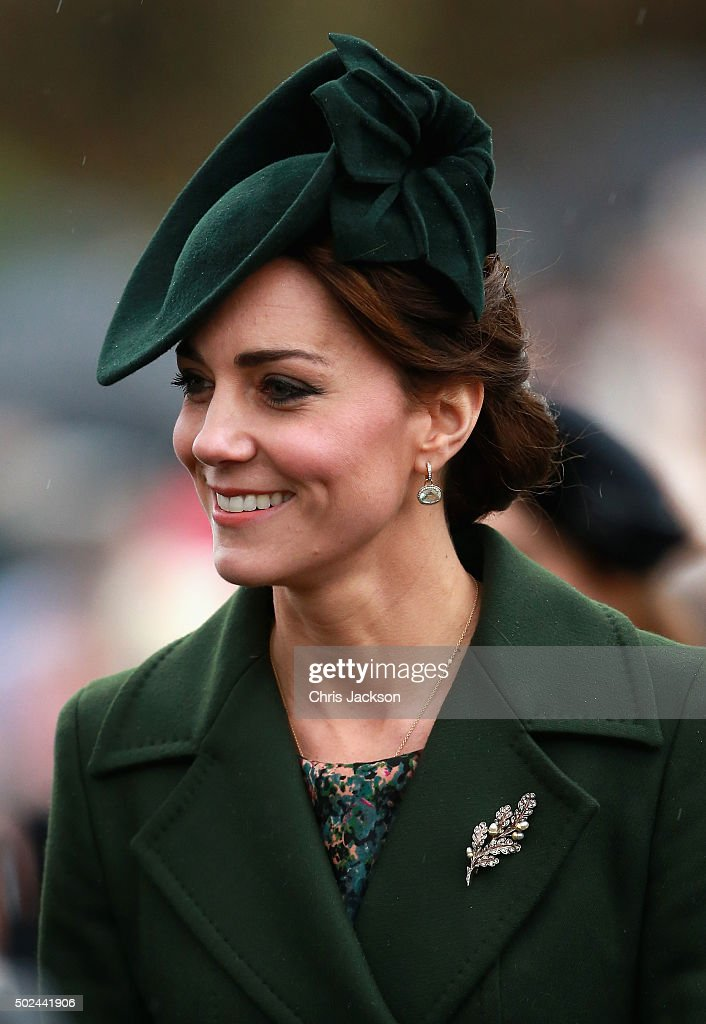 Catherine, Duchess of Cambridge attends a Christmas Day church service at Sandringham on December 25, 2015 in King's Lynn, England.
