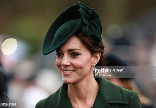 Catherine Duchess of Cambridge attends a Christmas Day church service at Sandringham on December 25 2015 in King's Lynn England