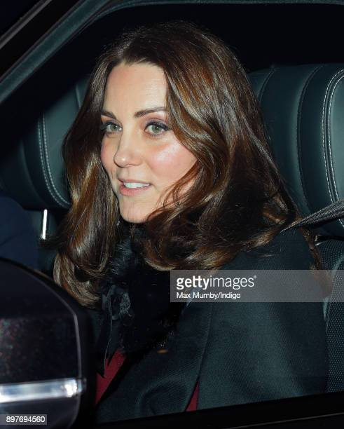 Catherine Duchess of Cambridge attends a Christmas lunch for members of the Royal Family hosted by Queen Elizabeth II at Buckingham Palace on...
