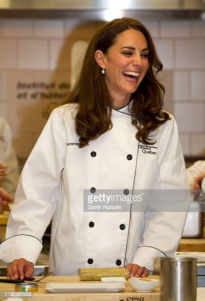 Catherine Duchess of Cambridge attends a cooking workshop and reception at the Institut De Tourisme et d'hotellerie du Quebec on day 3 of the Royal...