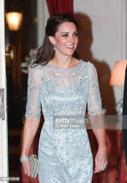 Catherine Duchess of Cambridge attends a dinner at the British Embassy on March 17 2017 in Paris France The Duke and Duchess are on a two day tour of...