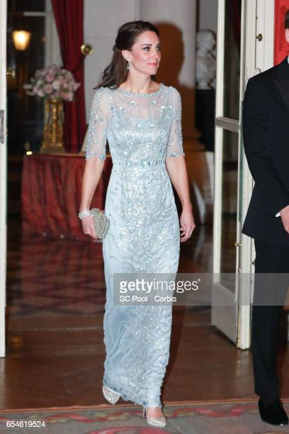 Catherine, Duchess of Cambridge attends a dinner at the British Embassy on March 17, 2017 in Paris, France. The Duke and Duchess are on a two day...