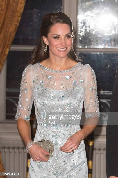 Catherine, Duchess of Cambridge attends a dinner hosted by Her Majesty's Ambassador to France, Edward Llewellyn, at the British Embassy in Paris, as...