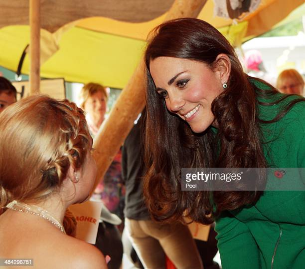 Catherine Duchess of Cambridge attends a Fairy Tale Party at Waikato Hospice Rainbow Place on April 12 2014 in Cambridge New Zealand The Duke and...