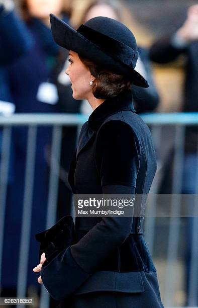Catherine Duchess of Cambridge attends a Memorial Service for Gerald Grosvenor 6th Duke of Westminster at Chester Cathedral on November 28 2016 in...
