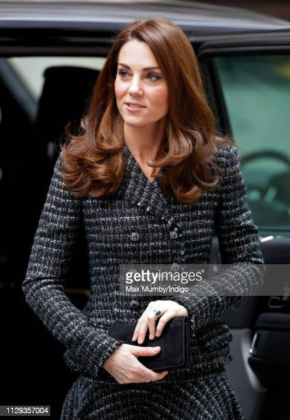 Catherine, Duchess of Cambridge attends a 'Mental Health In Education' conference at Mercers' Hall on February 13, 2019 in London, England. The...