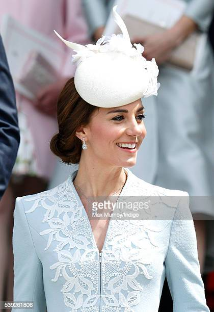 Catherine, Duchess of Cambridge attends a national service of thanksgiving to mark Queen Elizabeth II's 90th birthday at St Paul's Cathedral on June...