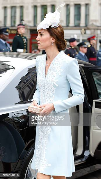Catherine Duchess of Cambridge attends a national service of thanksgiving to mark Queen Elizabeth II's 90th birthday at St Paul's Cathedral on June...