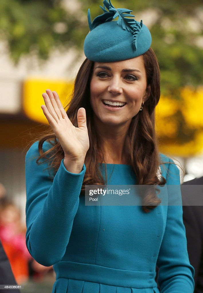 Catherine, Duchess of Cambridge attends a Palm Sunday service at St. Paul's Anglican Cathedral on April 13, 2014 in Dunedin, New Zealand. The Duke and Duchess of Cambridge are on a three-week tour of Australia and New Zealand, the first official trip overseas with their son, Prince George of Cambridge.