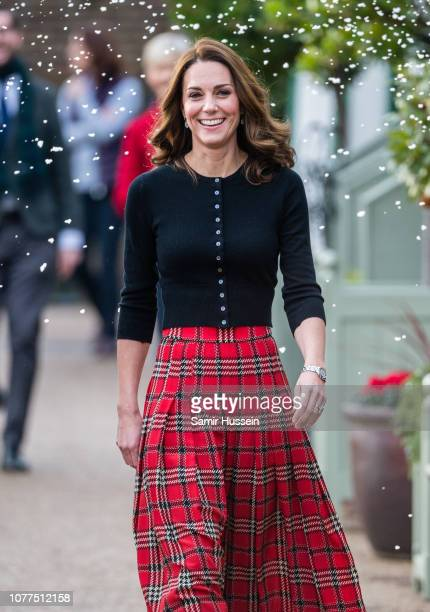 Catherine Duchess of Cambridge attends a party for families of military personnel deployed in Cyprus at Kensington Palace on December 04 2018 in...