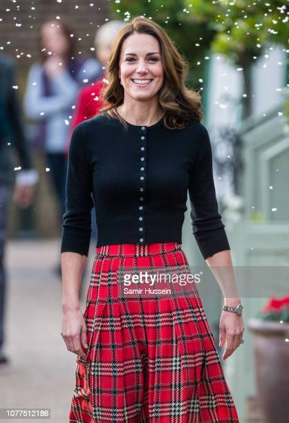 Catherine, Duchess of Cambridge attends a party for families of military personnel deployed in Cyprus at Kensington Palace on December 04, 2018 in...